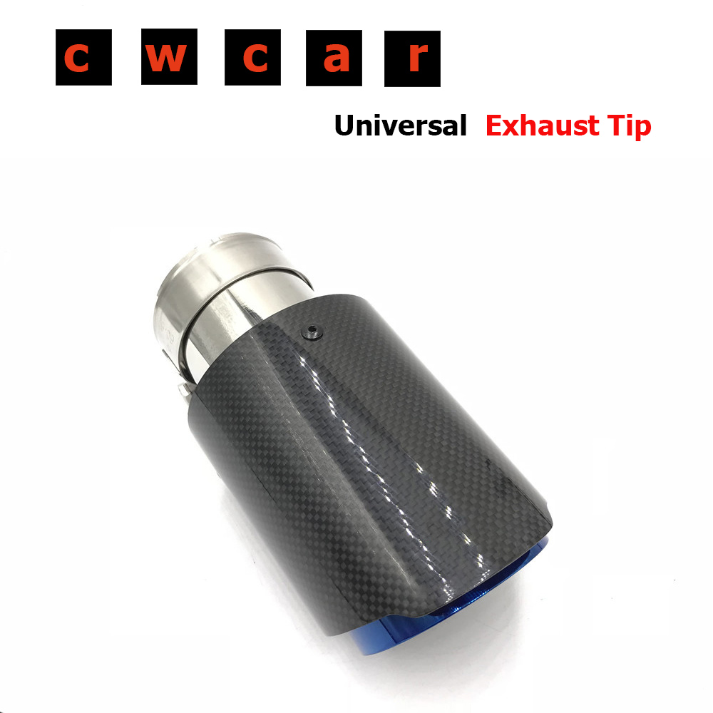 One Piece Single Glossy Carbon Fiber <font><b>Car</b></font> Back Muffler Pipe Coated Blue Stainless Steel <font><b>Car</b></font> Exhaust Tip For <font><b>Akrapovic</b></font> For <font><b>BMW</b></font> image