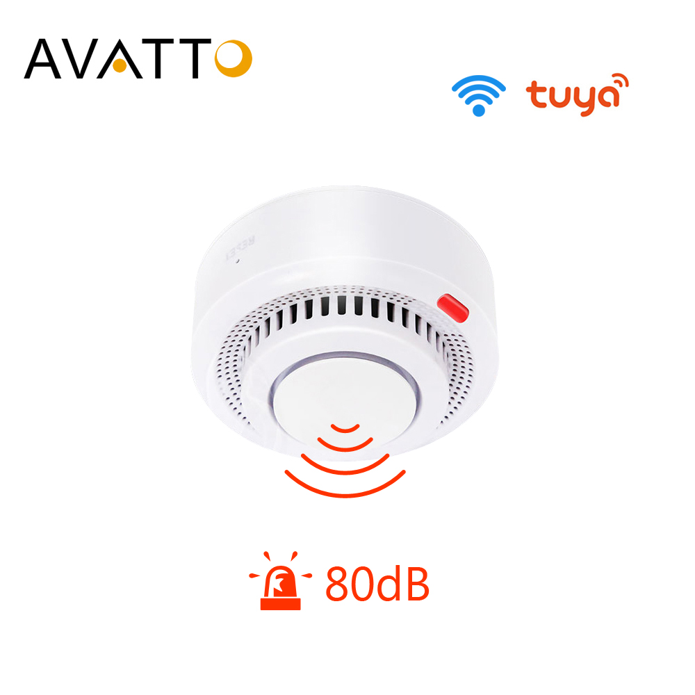 AVATTO Tuya WiFi Smart Smoke Detector, Smart Life APP Fire Alarm Sensor Home Security System Firefighters Smart Home Automation