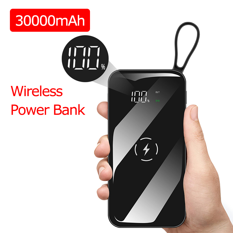30000 MAh Wireless Power Bank Waterproof Portable Dual USB For IPhone Xiaomi Huawei Powerbank Fast Charging External Battery