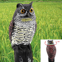 Yard Rotating Head Decor Scarecrow Protection Garden Repellent Owl Decoy Fake Pest Control Bird Scarer Realistic Wind Action