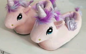 Image 5 - FAYUEKEY Women Cartoon pink Unicorn Slippers Girls Winter Plush Warm Home Slippers Indoor Shoes Slippers Cotton female Shoes
