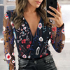 2021 Women's Chiffon Shirt Net Yarn Floral Embroidery Blouse Female Deep V-Neck Long-Sleeved Stitching Casual Women's Blouse 1