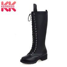 KemeKiss New Designer Womens Square Low Heel Riding Motorcycle Heel Knee High Boots Punk Gothic Platform