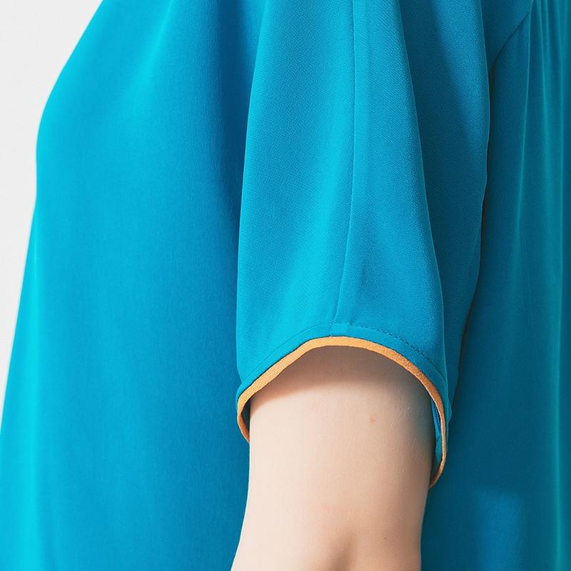 VOA cloisonne вес Шелковый лодочный воротник Бэтмен рукав Леопардовый принт сшивание золотая нить Арка иглы обжимной свободная футболка B9160 - 4
