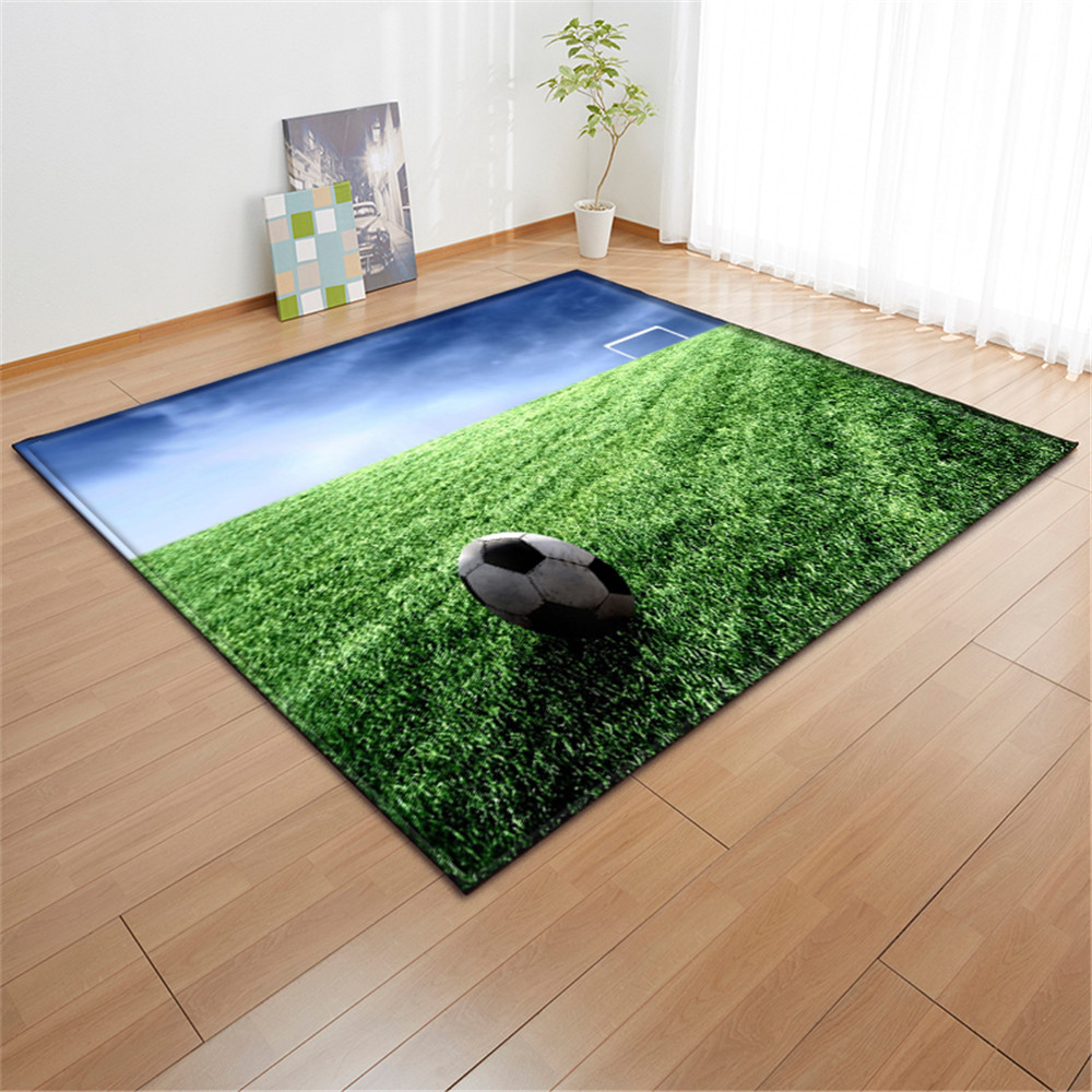 Modern Sport Art Football Baseball Non Slip Bathroom Door Mat Flannel Rug Carpet