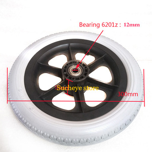 12 Inch PU Wheel Professional Wheelchair Rear Caster Replacement Part Tool 12 1/2x2 1/4 Solid Non Pneumatic Tire Wheel