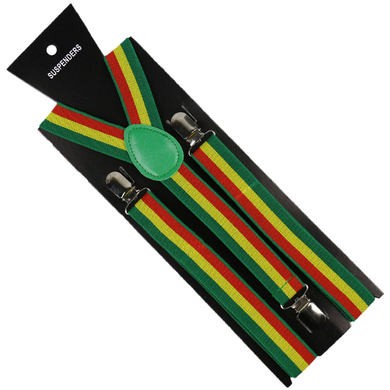 2019 New 2.5cm Wide Adjustable Y-Back Green Yellow Red Jamaica Flag Striped Suspenders Mens Womens