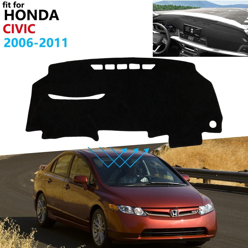 tapis de couverture de tableau de bord tapis de bord pour honda civic 8 2006 2011 fb fk fa fd 2008 2009 2010 parasol tapis voiture accessoires