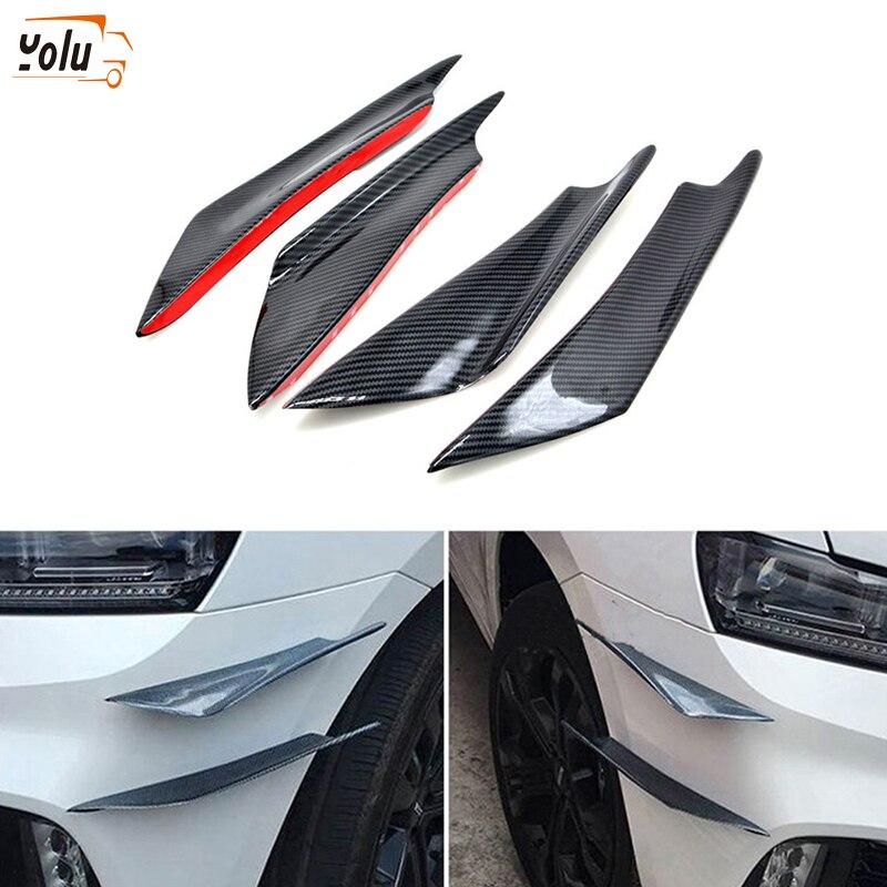YOLU 4 Pcs Universal Carbon Fiber Look Car Front Bumper Fins Spoiler Wing Lip Splitter Auto Protector