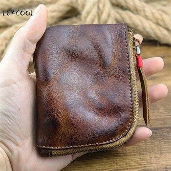 Мужские винтажные кошельки из натуральной кожи