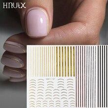 1 PC GOLD 3D สติกเกอร์เล็บ Curve stripe เส้นสติกเกอร์เล็บกาวแถบเล็บสติกเกอร์สติกเกอร์ศิลปะ Rose Gold เงิน