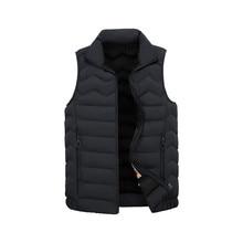 Men's Parka New Autumn Winter Lapel Large Size Vest Fashion Casual Solid Color Coats Man Warm Sleeveless Jacket Sport Clothes