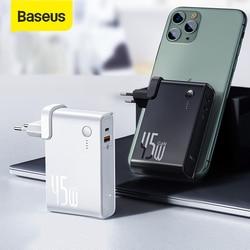 Baseus GaN Power Bank 10000 мАч с USB зарядным устройством 45 Вт PD быстрое зарядное устройство и батарея в одном для ноутбука Iphone 11 Pro