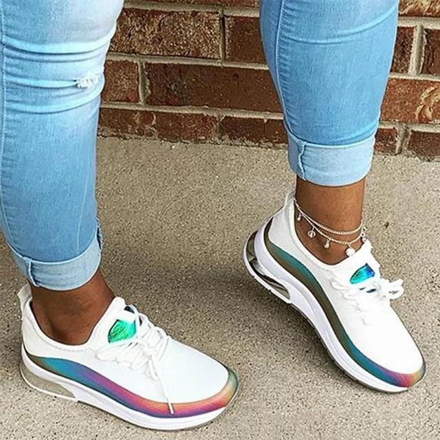 Zapatillas de deporte transpirables con cordones para mujer, zapato vulcanizado cómodo de talla grande para primavera y otoño, 2020 2