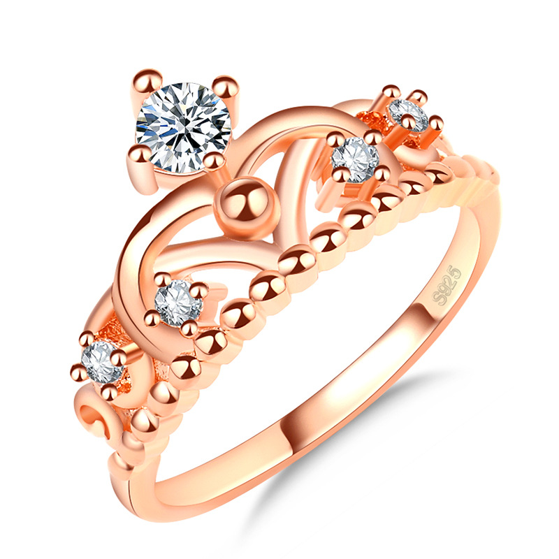 New Fashion Jewelry Zircon  Steel Crown Geometry Wedding Rings For Women Gifts Anillo Anel Bague Punk