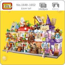 LOZ şehir sokak tavşan mantar cadılar bayramı sihirli yelkenli tekne mısır firavun mağaza mimari 3D Mini bloklar bina oyuncak hiçbir kutu