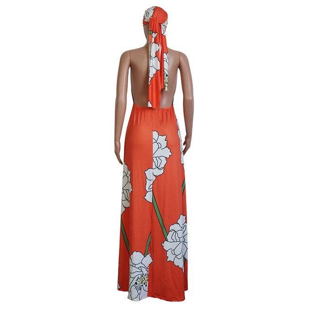 Floral Print Summer Boho Dresses Women Off Shoulder Backless Long Beach Dress Casual Halter Sleeveless Maxi Dress With Headscarf 4