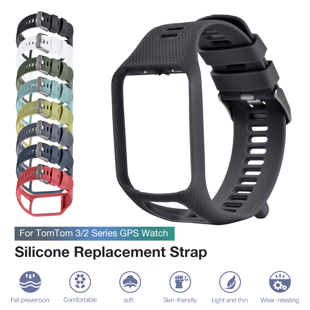 New Replacement Silicone Band Strap For TomTom Runner 2 / 3 Spark/3 Sport GPS TPE Hard PC Holder Waterproof Watch