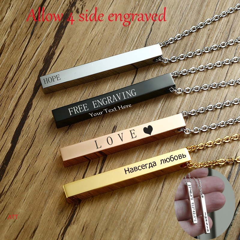 Long Bar Vertical Necklace For Men Women In Black Gold Silver Color Initial Pendant Stainless Steel Personalized Jewelry