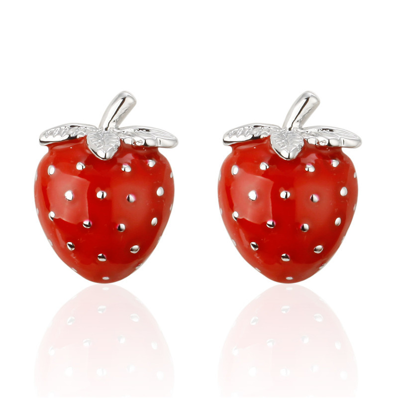 French Shirt Cufflinks Buttons Fashion Men's Women's Accessories Gifts Personality Trendy Fruit Series Red Strawberry Cuff Links
