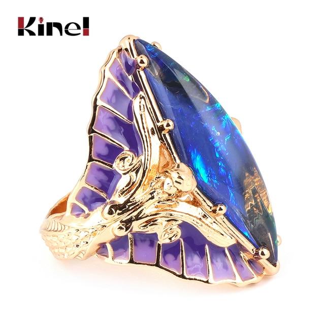 Kinel Hot violet émail coloré pierre grand anneau pour les femmes mode or sirène reine anneau de fiançailles bijoux de fête livraison directe