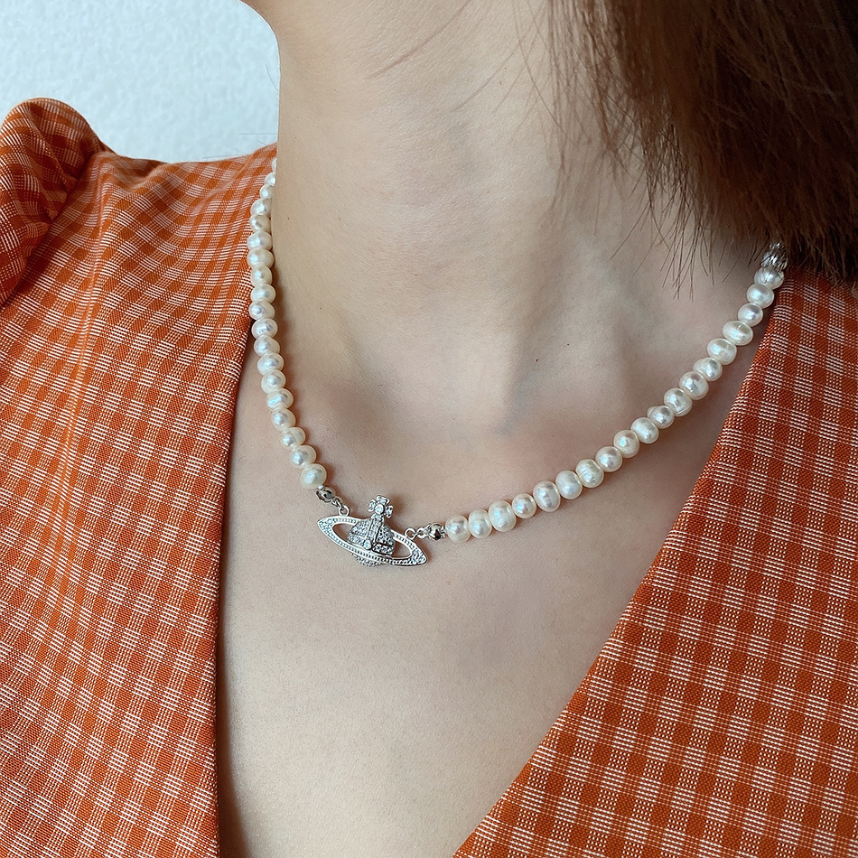 Planet pearl short necklace female 925 sterling silver jewelry niche ins style luxury choker birthday gift