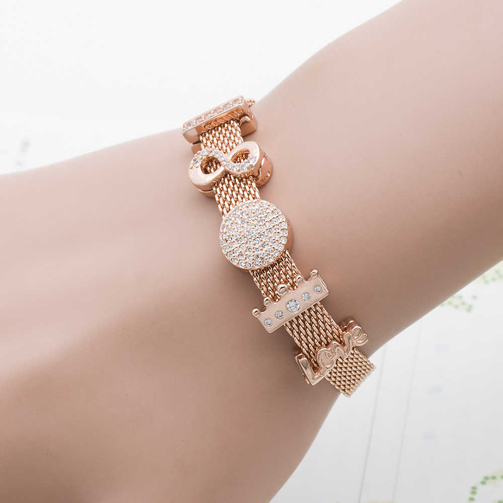 Mingshang plated rose gold hgih quality  REFLEXIONS BRACELET Charms bead for women Bracelet 2color clip with AAA zircon gift