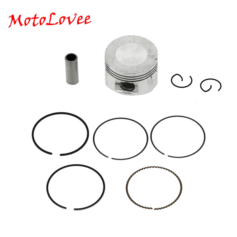 Motolovee Motorcycle <font><b>Piston</b></font> <font><b>52mm</b></font> <font><b>Piston</b></font> 15mm Pin <font><b>Piston</b></font> <font><b>Ring</b></font> Gasket Assembly Kit Set for GY6 125 125cc Engine image