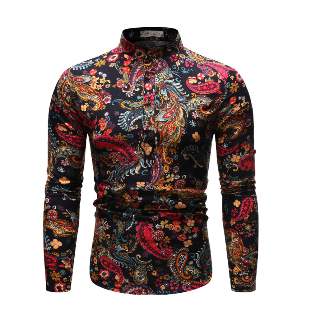 Floral Shirt Men's Floral Dress Shirt 70s Printed Casual Stand Collar Shirts Holiday Style Long Sleeve Floral Shirt