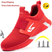 XPUHGM New Men Work Sneakers Safety Shoes Men Work Boots Anti-puncture Safety Footwear Man Steel Toe Shoes Lightweight Men Shoes