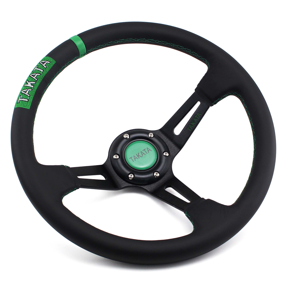 TK Deep Dished Leather Steering Wheel 14inch 350mm Auto Racing Drifting Steering Wheels Great Look