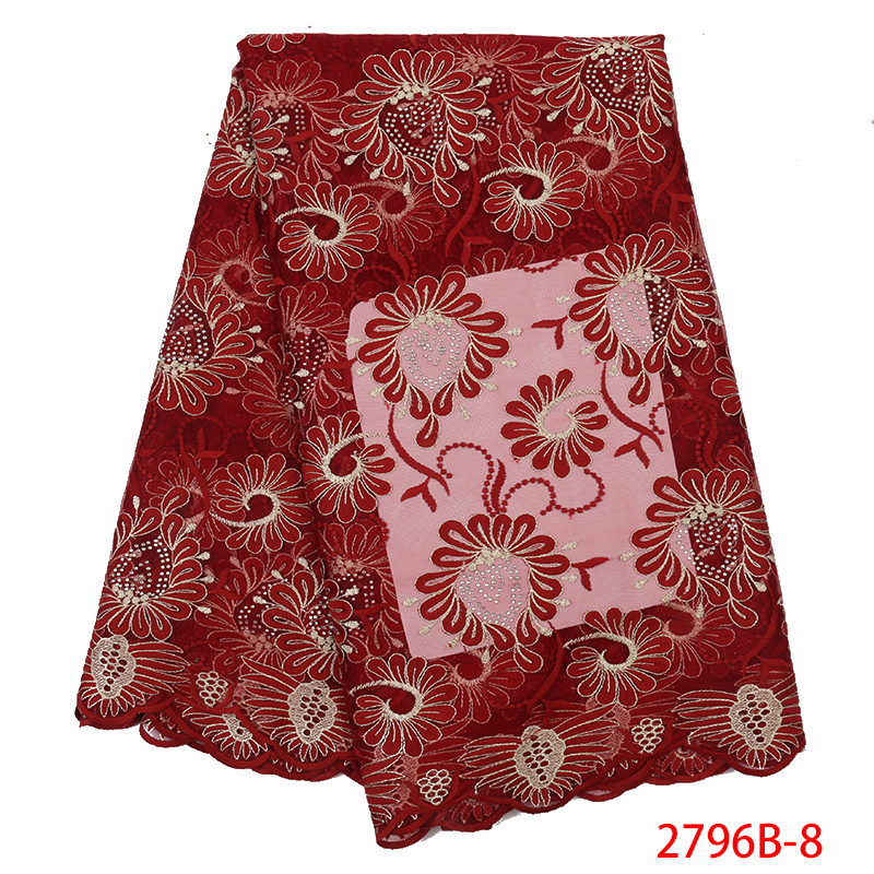 Hot Sale African Lace Fabric,French Net Fabric Lace High Quality,Nigerian Embroidered Tulle Laces With Stones KS2796B-8