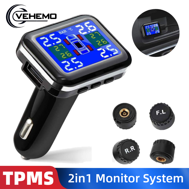 2in1 Cigarette Lighter USB Car TPMS Tire Pressure Monitoring System Tyre Pressure Sensor Temperature Alarm Systems LCD Display(China)