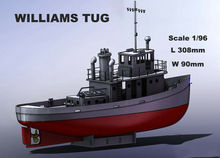 Scale 1:96 Ship RC Diy for Williams Tug 308mm Remote Control Simulation RC Model Tug Working Boat With ESC SERVO full scale remote control receiver esc upgrade op fitting accessories for wpl rc car ship model 634f