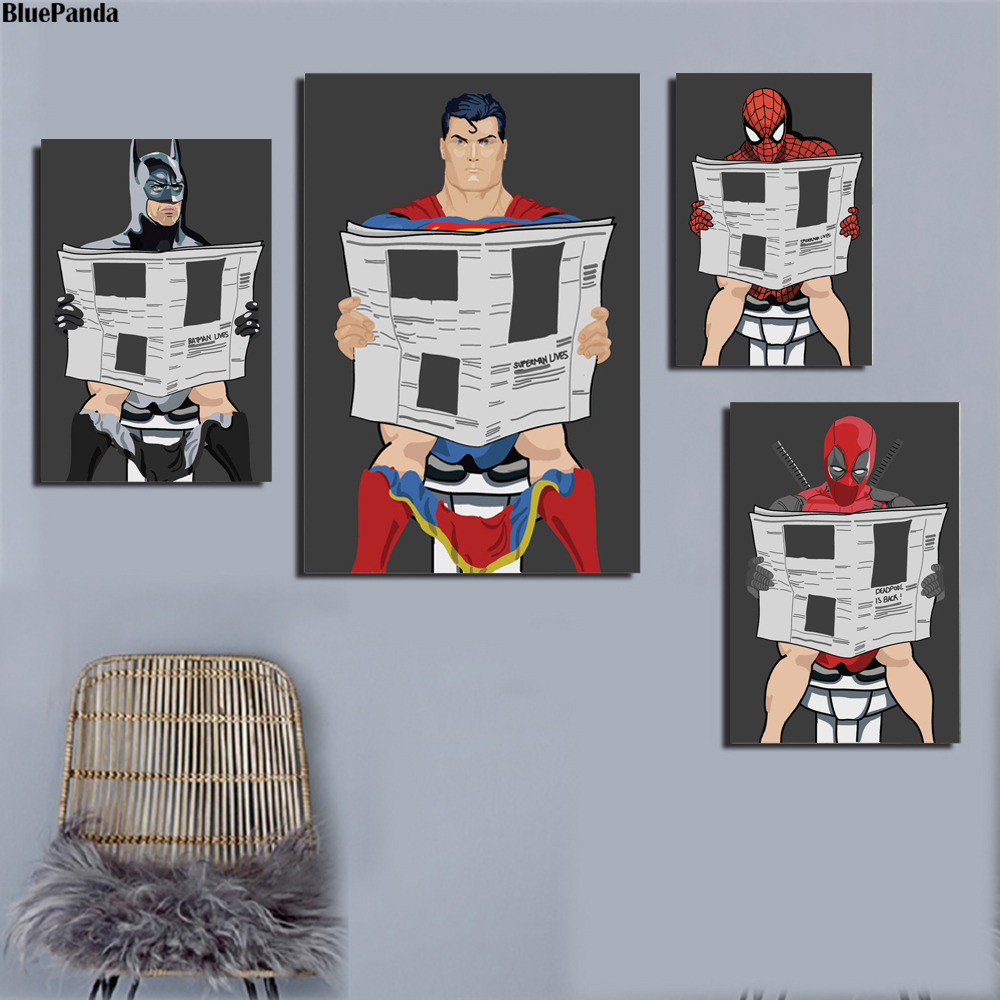 Superman DC Comics Painting Spiderman Poster Bathroom Art Humor And Prints Decorative Pictures For Living Room Home Decor image