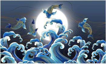 Niestandardowe fototapety na ścianach 3 d mural nowa chińska linia złota księżyc spray wzór woda niebieski atrament TV malowanie ścian tapety tanie i dobre opinie SYBH USD rolka Tapeta jedwabna Do pokoju starszyzny SALON Pokój dziecięcy KİTCHEN do nauki do pokoju z pościelą Do domu weselnego