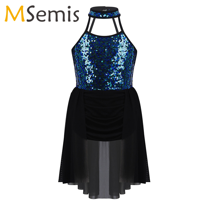 iiniim Kids Girls Lyrical Dress High-Low Skirt Contemporary Ballet Modern Jazz Dance Leotards Ballroom Costume