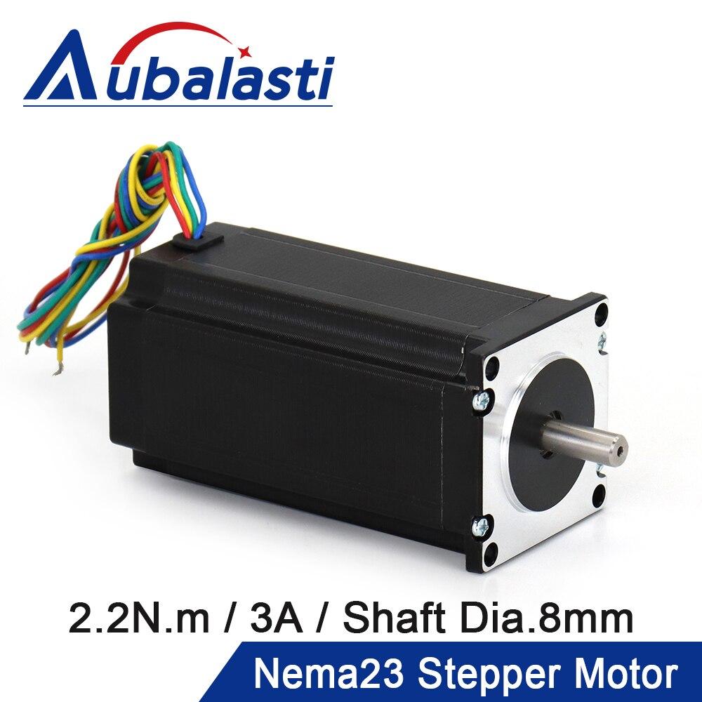 Aubalasti nema23 cnc motor deslizante 57x82mm 4-lead 3a 2.2n. m d = 8mm 6.35mm para impressora 3d para cnc roteador gravura fresadora