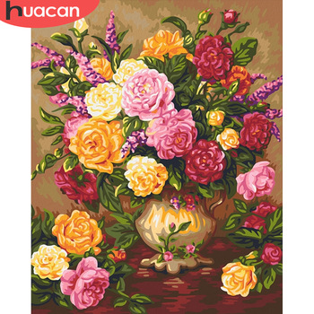 HUACAN Paint By Number Peony Drawing On Canvas HandPainted Painting Art Gift DIY Pictures By Number Flower Kits Home Decor