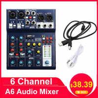 Leory Mini 6 Canali Audio Mixing Console di Registrazione Usb Del Computer 48V Phantom Effetti Dsp Usb Mixer Audio A6 di Miscelazione console Karaoke