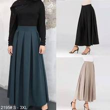 High Waist Pleated Skirt Women Muslim Fashion Ankle-length Solid Color Skirts Ladies Elegant Arab Islamic Cothing 2020 Plus Size