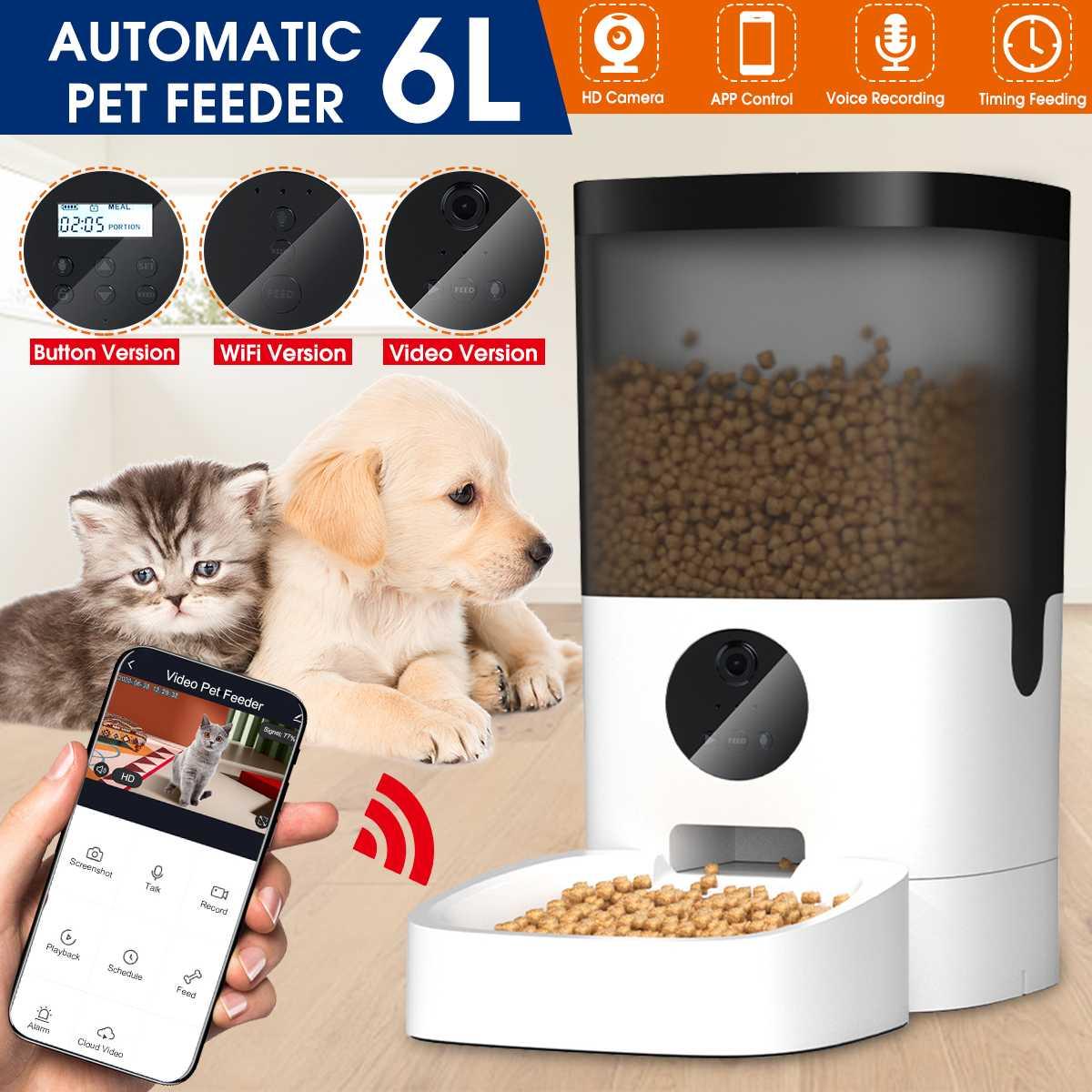 6L Smart Automatic Pet Feeder copertura visibile Pet Dog Cat Food Dispenser telecomando APP Timer [versione Video/WiFi/pulsante] 1