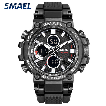 SMAEL Sports Men Watch Mens Analog Quartz Watches Man LED Digital Waterproof Military Wristwatch Male Clock Relogio Masculino double time zone swim men sports watch digital calendar quartz wrist watches waterproof 50m military clock relogio masculino