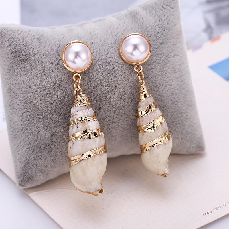 HOCOLE Fashion Pearl Sea Shell Drop Earrings For Women Bohemian Gold Color Big Geometric Shell Earrings Statement Beach Jewelry in Drop Earrings from Jewelry Accessories