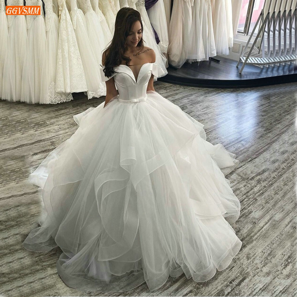 Exceptional White Wedding Gowns Long Off Shoulder Tulle Ruffles Ball Gown Ivory Wedding Dress Fluffy Custom Made Bridal Dresses