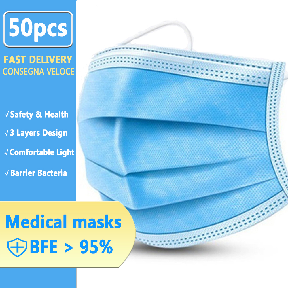 Disposable Medical Masks Three-Layer Blue Face Mask N95 Anti-Virus Influenza Dustproof Breathable Protective Mouth And Nose