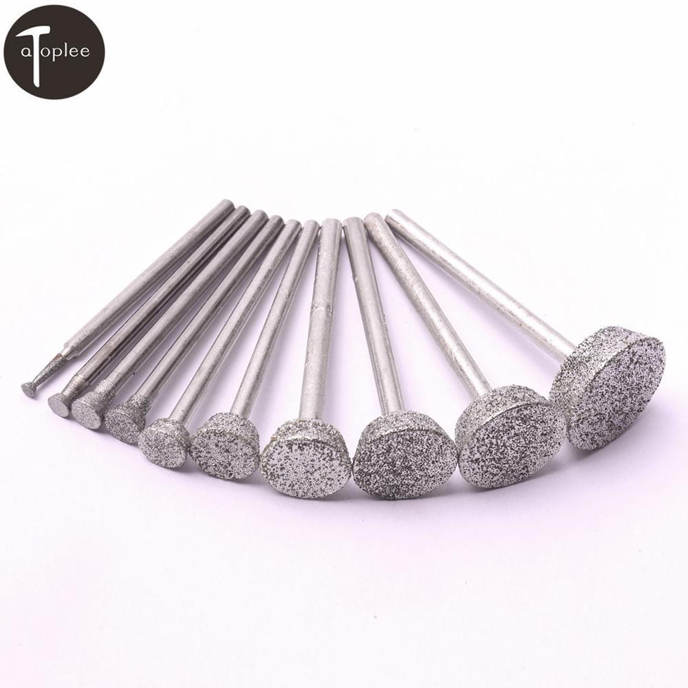 10PCS/set Extra-Wide Diamond Grinding Wheel 2-16mm Dremel Rotary Tools Carborundum Metal Stone Carving Grind Tools