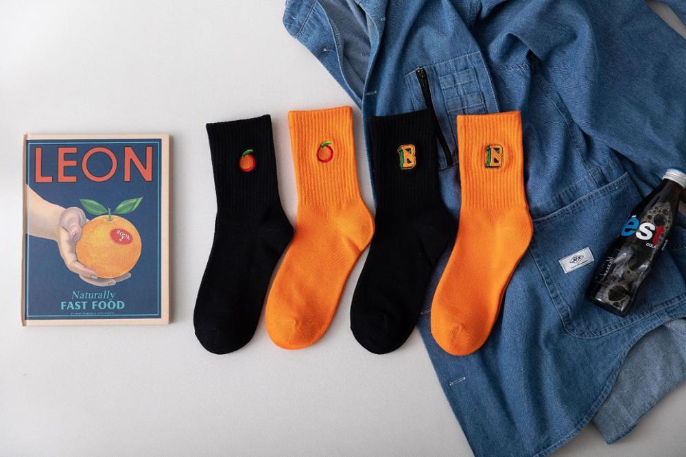 Korean Women Socks Autumn And Winter Female Cotton Ins Orange Socks Embroidery Alphabet Socks Men Tide Socks