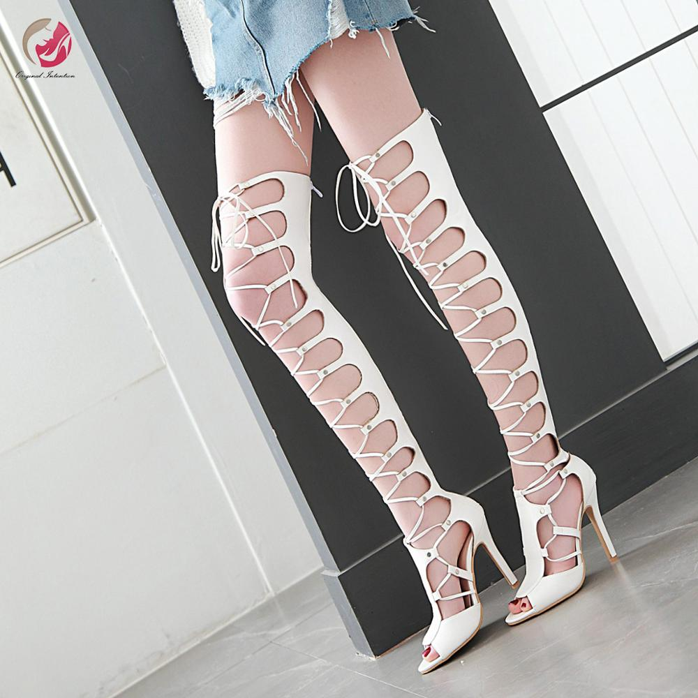 Original Intention New Super Sexy Cross-tied Black Over Knee High Sandals Woman Peep Toe Thin High Heels Party Club Shoes Female