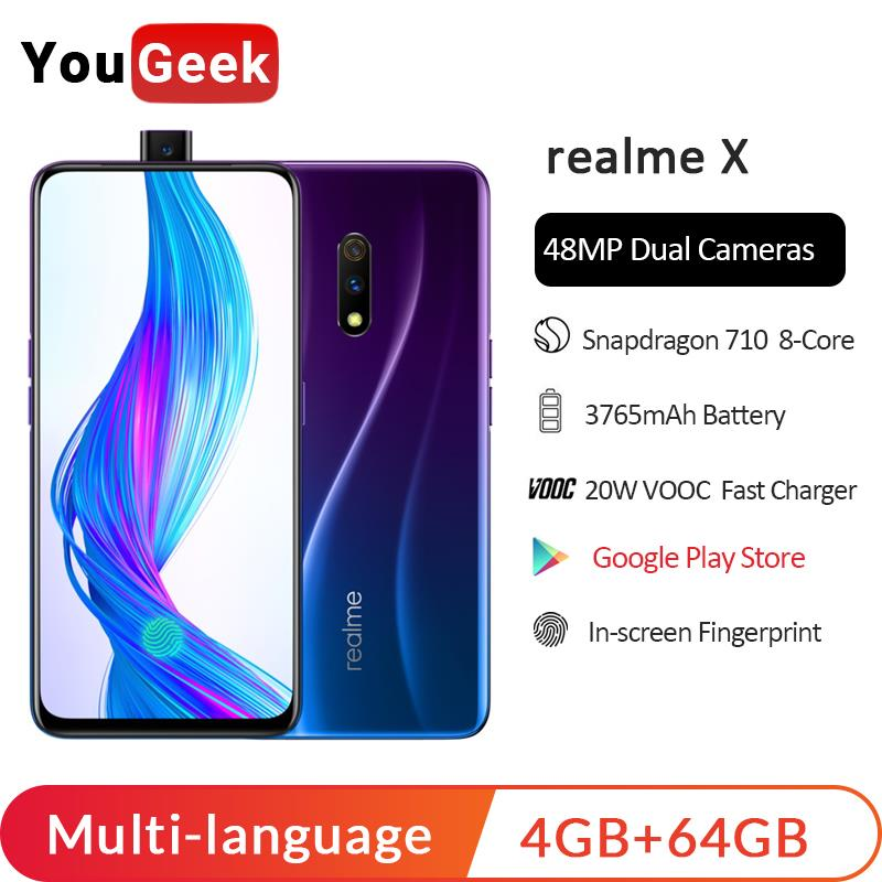 Realme X 4GB RAM 64GB ROM 6.53'' Full Screen Moblie Phone Pop-up Camera Cellphone OPPO 20W VOOC Fast Charge 3.0 Smartphone